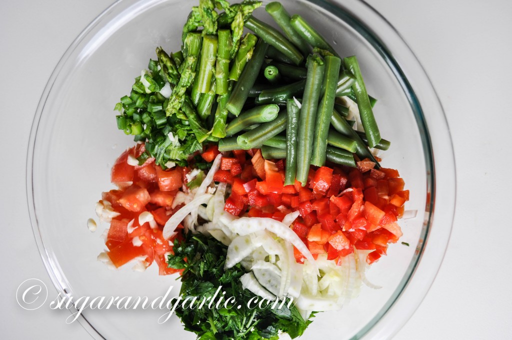 Tuna salad veggies; in this variation I included chopped asparagus!
