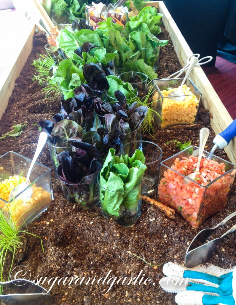 garden salad farm to table in faux dirt