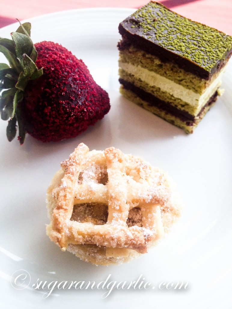 chocolate covered strawberry, green tea, opera cake, petite apple pie