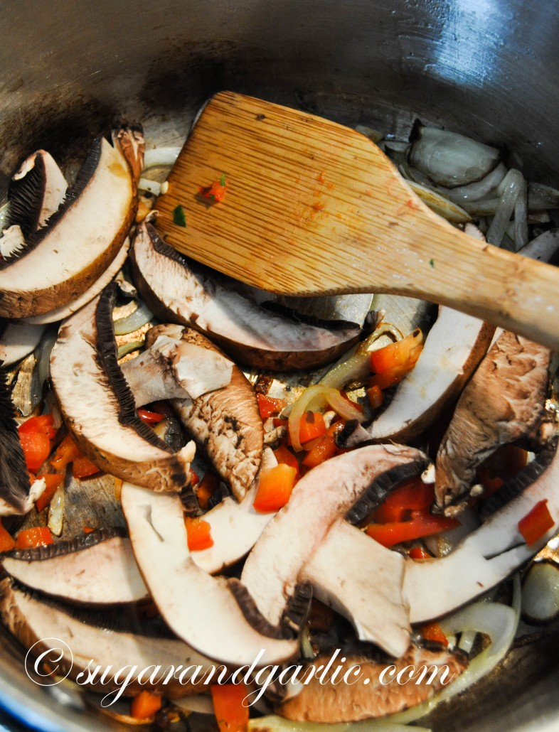 sautee mushrooms in garlic oil