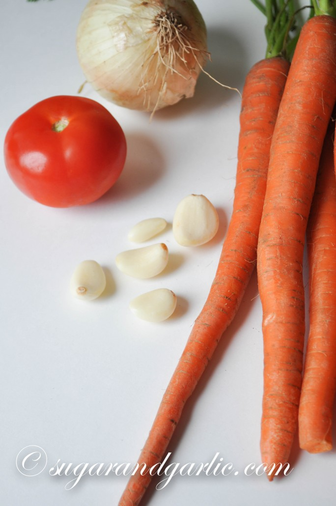 Root vegetables: carrot, onion, garlic, tomato