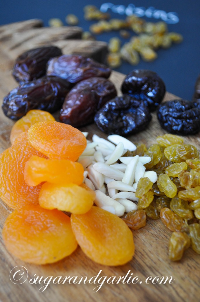 apricots, prunes, dates, raisins, and almonds