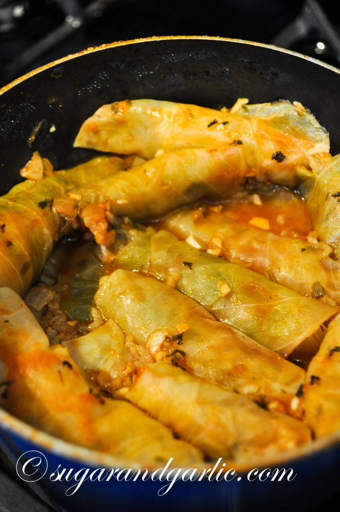 The cooked product, after about 35 minutes. Cooking time varies so watch the liquid so that you do not burn your delicate cabbage rolls!