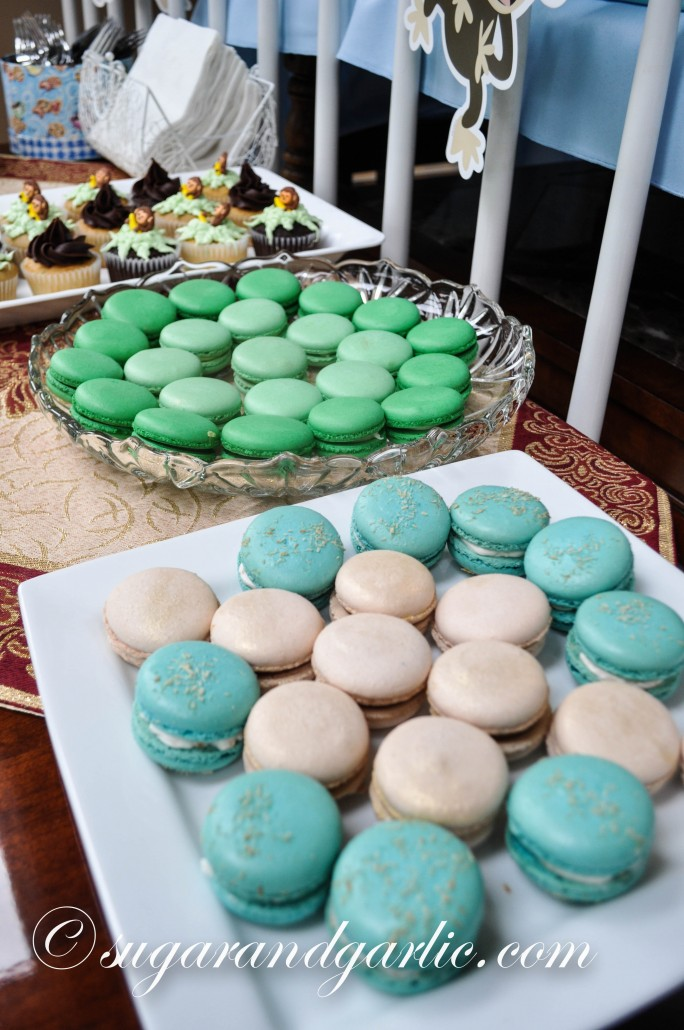 blue and green macarons