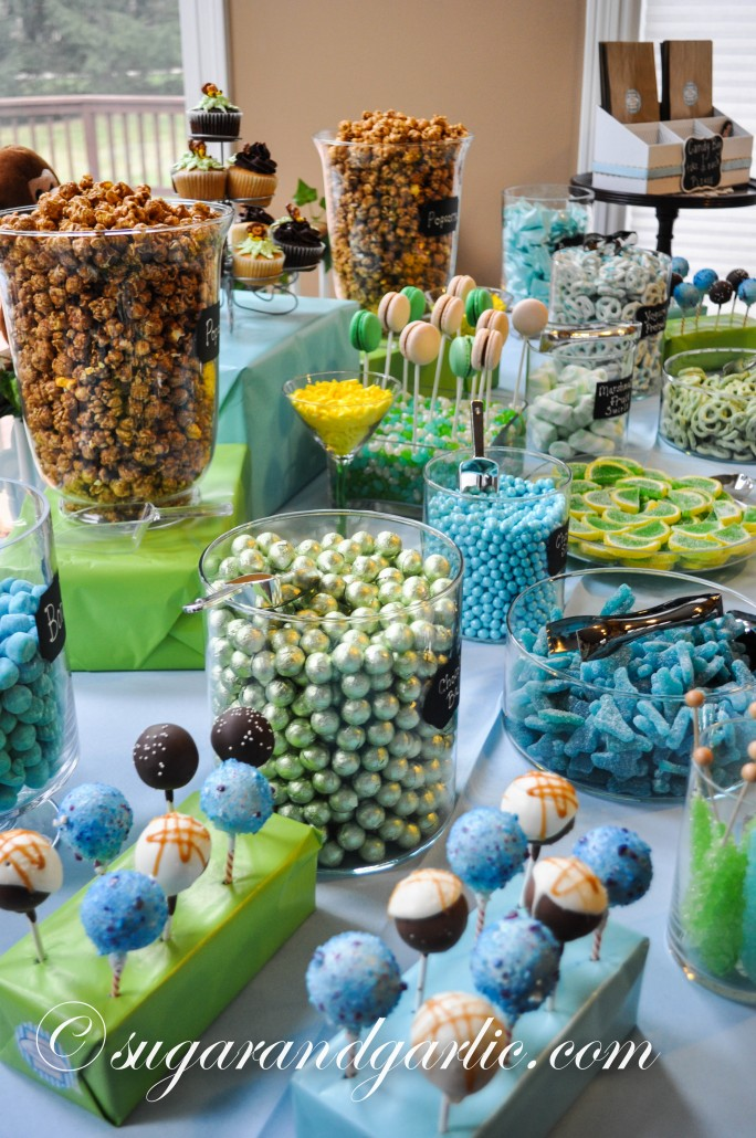 blue and green dessert table