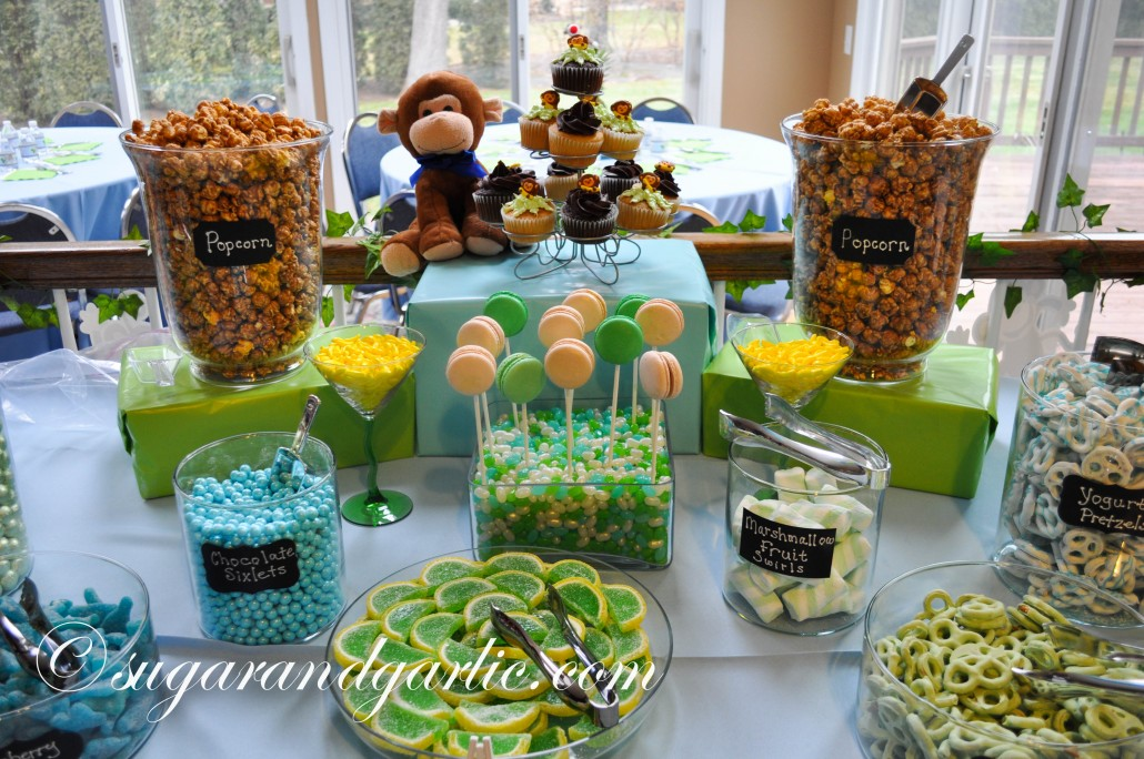 blue and green candy table