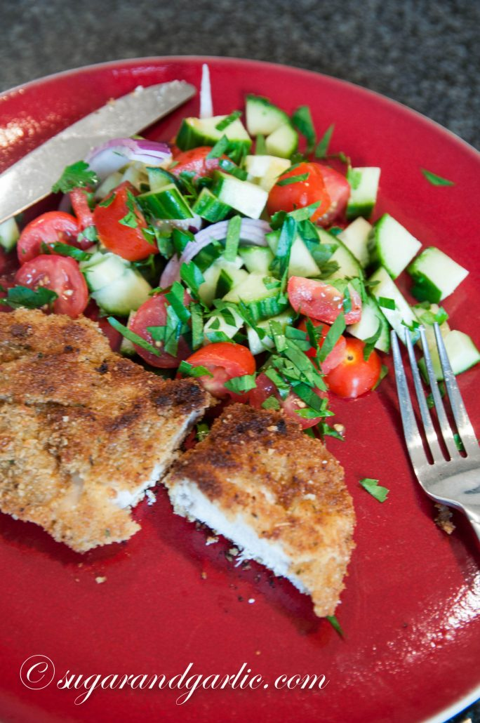 chicken pane with salad