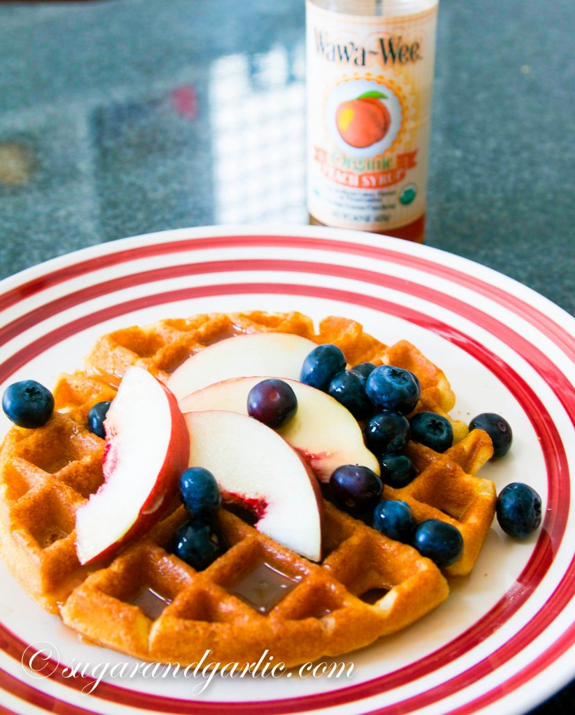 waffles with peach syrup