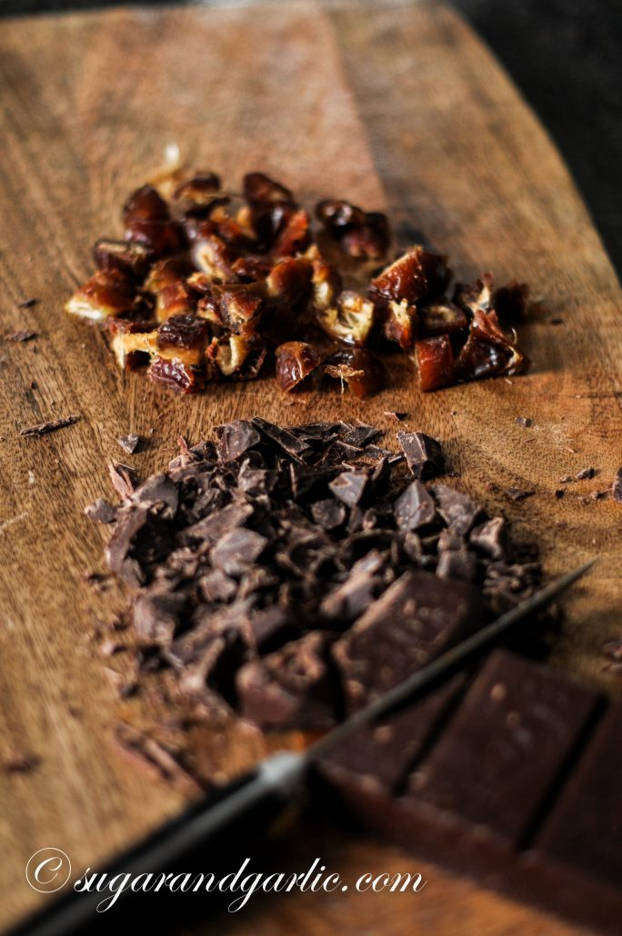 chopped dates and chocolate