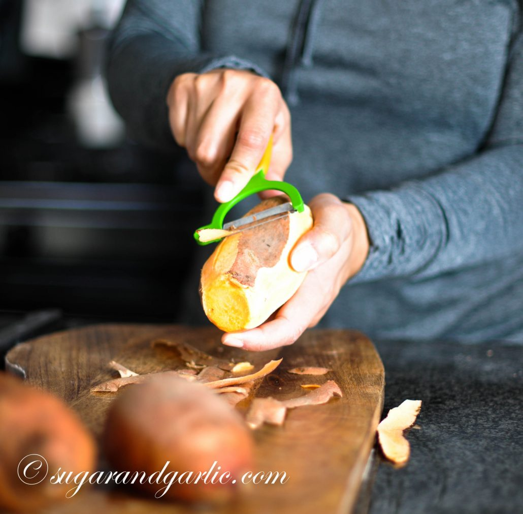 peel the sweet potatoes