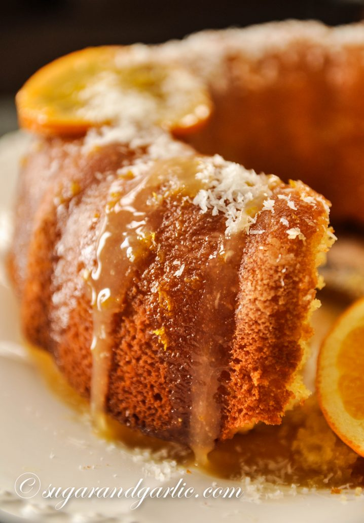 orange coconut cake with glaze